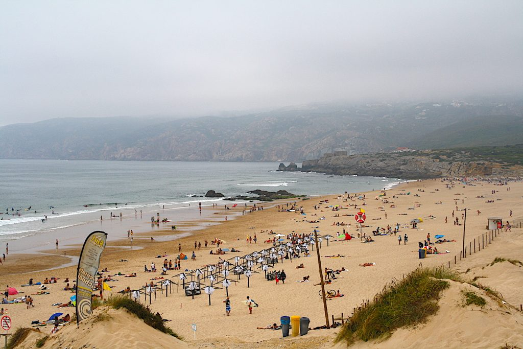 Praia do Guincho people on the beach