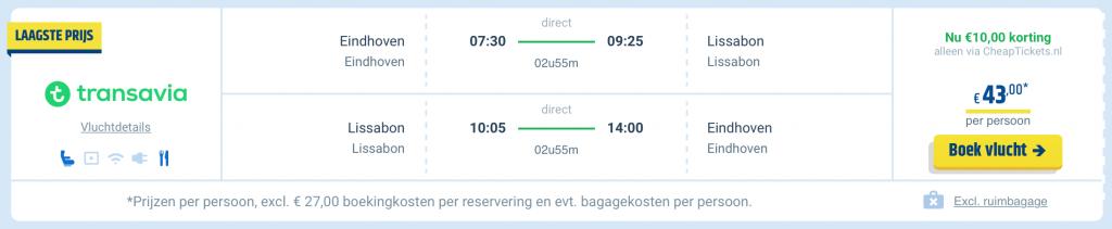 Transavia Winter Sale: Vliegtickets Eindhoven Lissabon