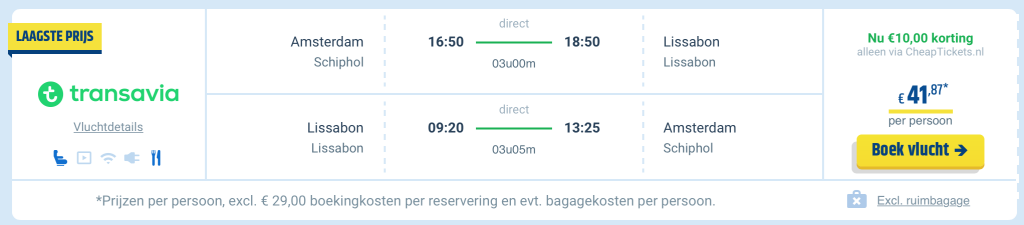 Amsterdam-Lissabon €41 met Transavia Winter Sale