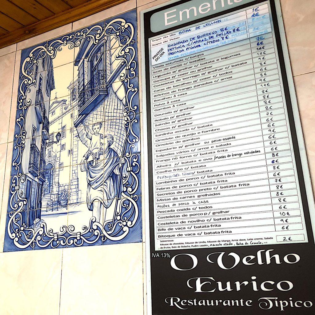 O Eurico menu