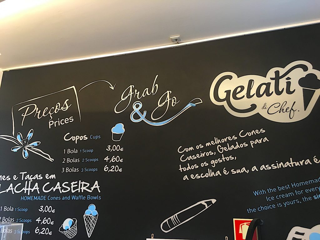 Gelati di Chef - bord met prijzen